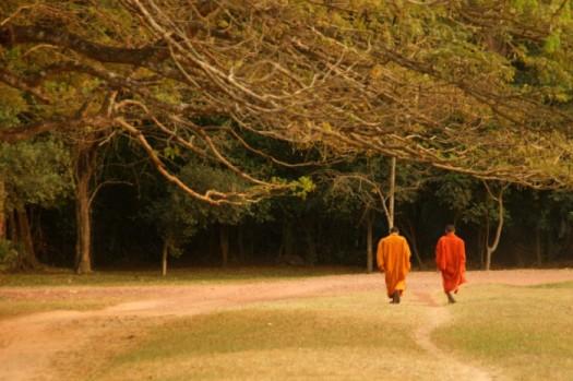 Bonzes au coucher du soleil, Angkor