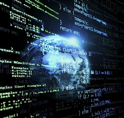 Código digital de un programa con el mundo como fondo Esta es una imagen editada con un programa de diseño. Algunos componentes de este montaje están cedidos cortesía de la NASA y pueden encontrarse en http://visibleearth.nasa.gov/